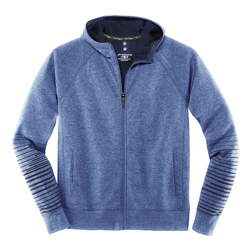 Mens Brooks Joyride Hoodie Warm-Up Unhooded Jackets - Heather/Marathon XL
