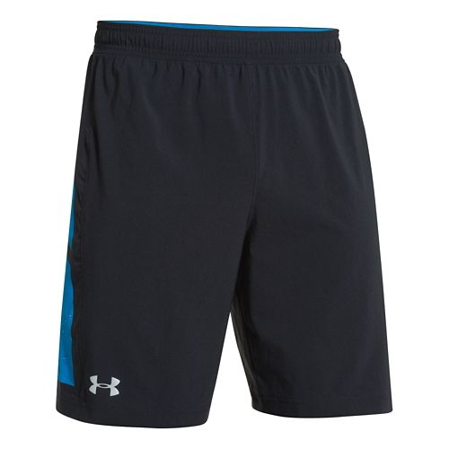 Mens Under Armour Launch 9 No Liner Lined Shorts - Black/Blue Jet XL