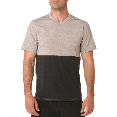 Mens Brooks Fly-By Short Sleeve Technical Tops - Heather/Carb S