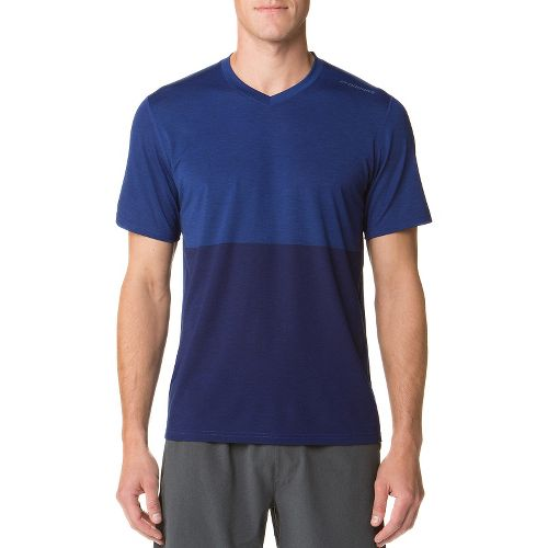 Mens Brooks Fly-By Short Sleeve Technical Tops - Heather/Navy M