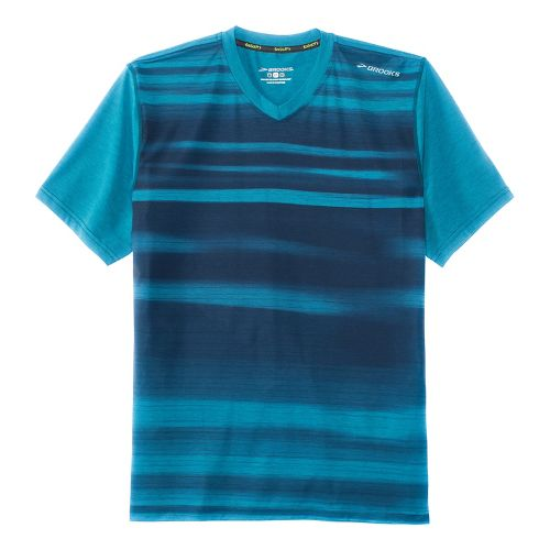 Mens Brooks Fly-By Short Sleeve Technical Tops - Heather River Blur M
