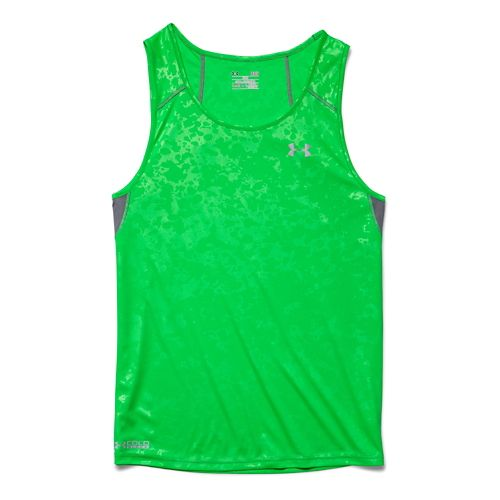 Mens Under Armour Coldblack Run Singlet Tank Technical Tops - Green Energy L
