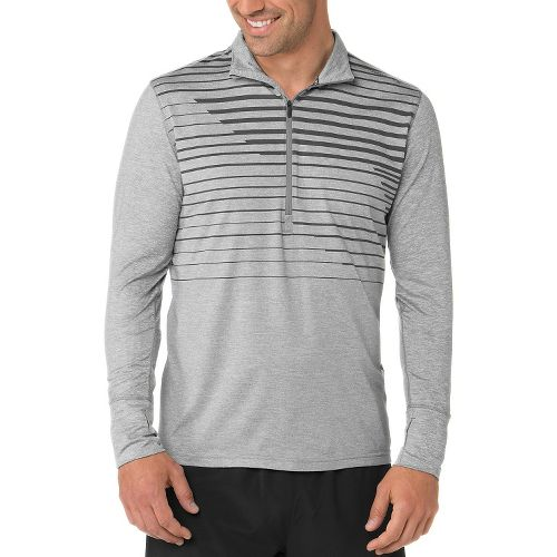 Mens Brooks Dash Long Sleeve Half Zip Technical Tops - Heather/Oxford L