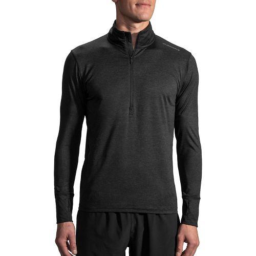 Mens Brooks Dash Long Sleeve Half Zip & Hoodies Technical Tops - Heather Black XL ...