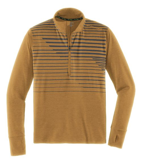 Mens Brooks Dash Long Sleeve Half Zip & Hoodies Technical Tops - Heather Ale Macro XS