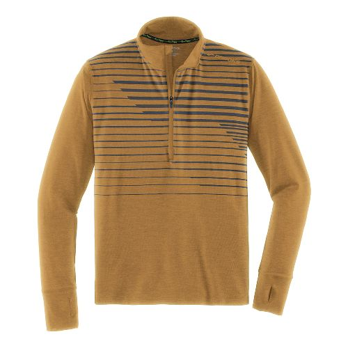 Mens Brooks Dash Long Sleeve Half Zip Technical Tops - Heather Ale Macro L