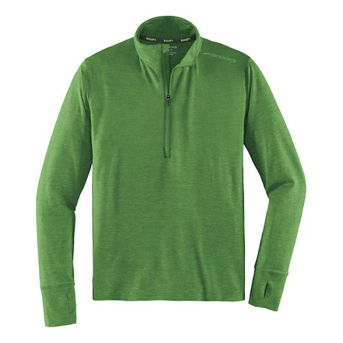 Mens Brooks Dash Long Sleeve Half Zip Technical Tops - Heather Forest XL