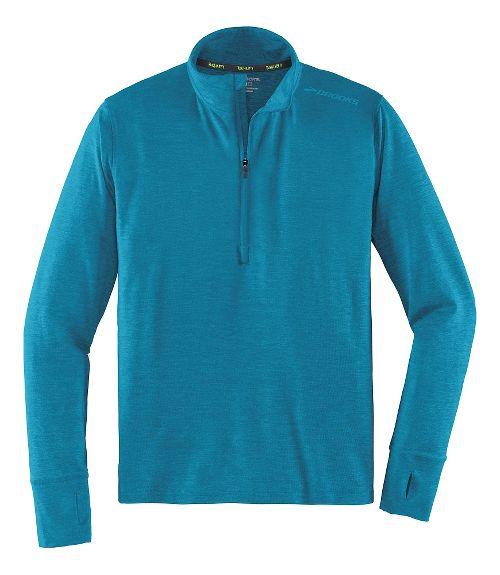 Mens Brooks Dash Long Sleeve Half Zip & Hoodies Technical Tops - Heather River XL
