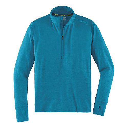 Mens Brooks Dash Long Sleeve Half Zip Technical Tops - Heather River M