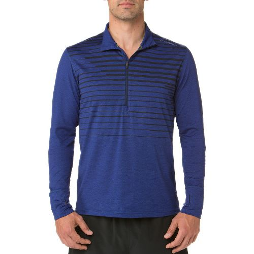 Mens Brooks Dash Long Sleeve Half Zip Technical Tops - Navy M