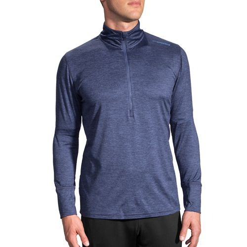 Mens Brooks Dash Long Sleeve Half Zip & Hoodies Technical Tops - Heather Coast S ...