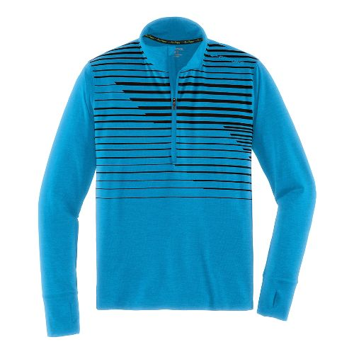 Mens Brooks Dash Long Sleeve Half Zip Technical Tops - Heather/Hydrate XL