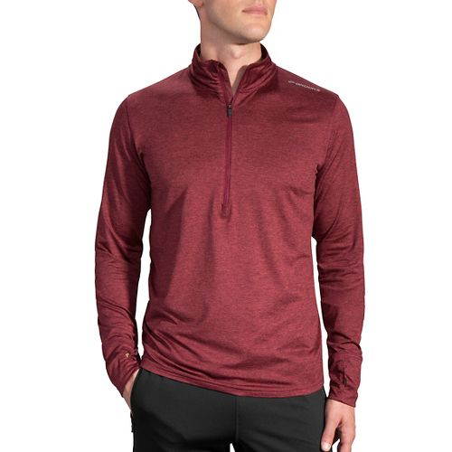 Mens Brooks Dash Long Sleeve Half Zip & Hoodies Technical Tops - Heather Root S