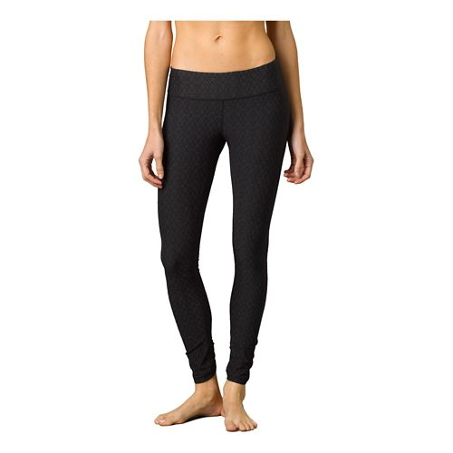 Womens Prana Misty Legging Full Length Tights - Black Jacquard XL