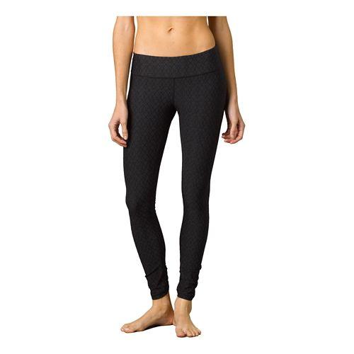Womens Prana Misty Legging Full Length Tights - Black Jacquard XS