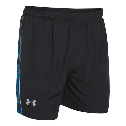 Mens Under Armour Launch 5 Reflect Lined Shorts - Black/Black M