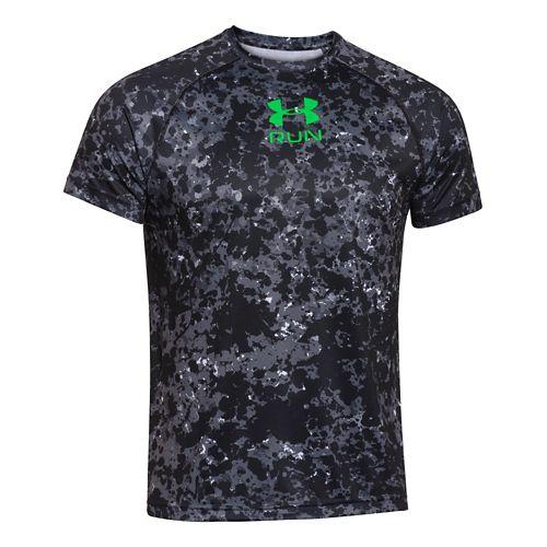 Mens Under Armour Run Novelty T Short Sleeve Technical Tops - Island Blues L