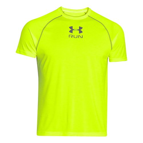 Mens Under Armour Tech Run Twist T Short Sleeve Technical Tops - High-Vis Yellow 3XL ...