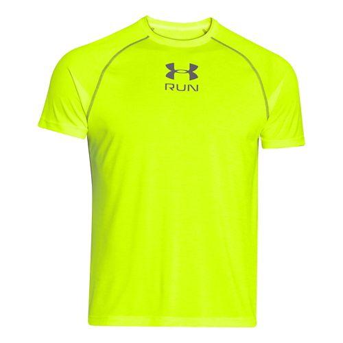 Mens Under Armour Tech Run Twist T Short Sleeve Technical Tops - High-Vis Yellow XXL ...