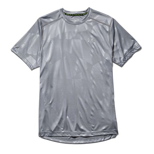 Mens Under Armour Coldblack Run T Short Sleeve Technical Tops - Steel M