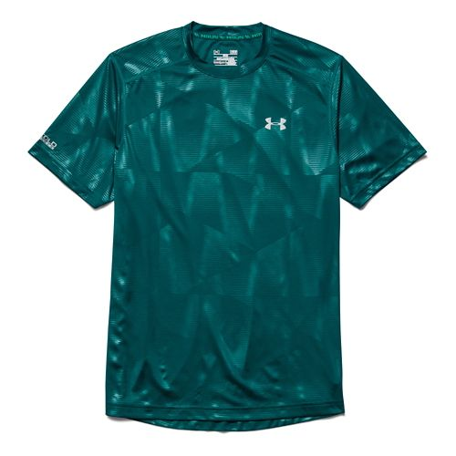Mens Under Armour Coldblack Run T Short Sleeve Technical Tops - Hydro Teal S