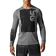 Men Reebok CrossFit Tri-Blend Long Sleeve No Zip Graphic Technical Tops