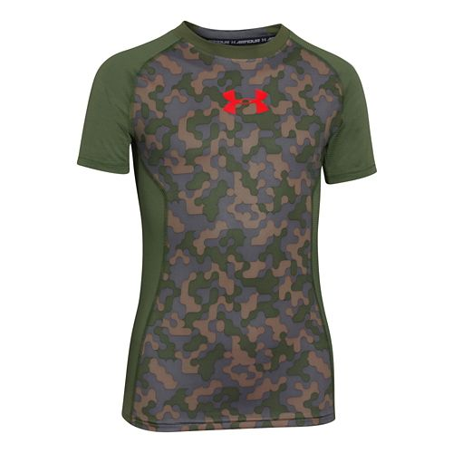 Kids Under Armour Up HeatGear Fitted T Short Sleeve Technical Tops - Canvas/Lake YXL
