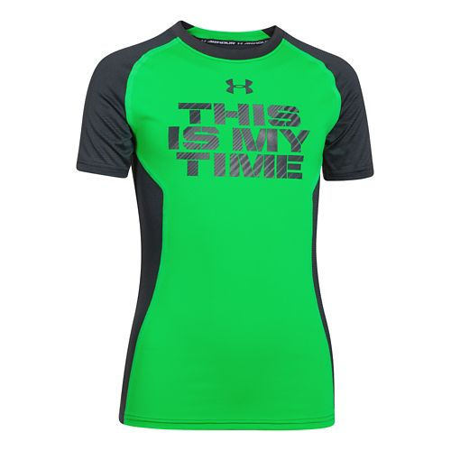 Kids Under Armour Up HeatGear Fitted T Short Sleeve Technical Tops - Green Energy YXS ...