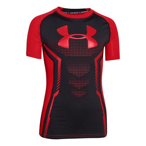 Kids Under Armour Up HeatGear Fitted T Short Sleeve Technical Tops - Canvas/Lake YS