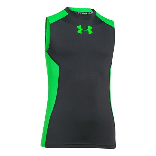 Kids Under Armour Up HeatGear Fitted T Sleeveless Technical Tops - Anthracite YXL