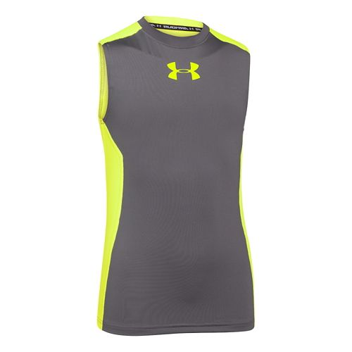 Kids Under Armour Up HeatGear Fitted T Sleeveless Technical Tops - Graphite YS