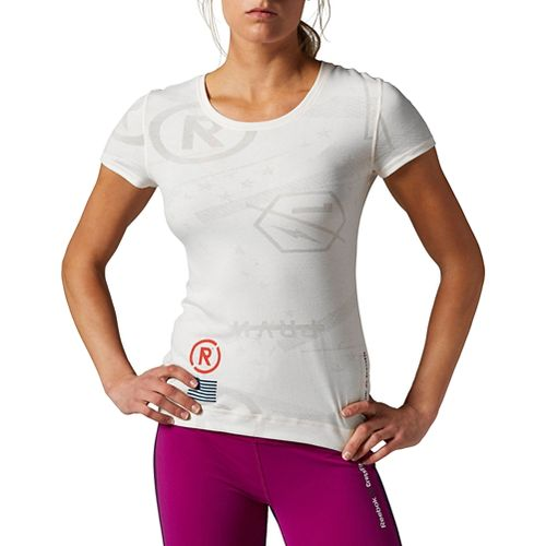 Womens Reebok CrossFit Burnout Short Sleeve Technical Tops - Chalk M