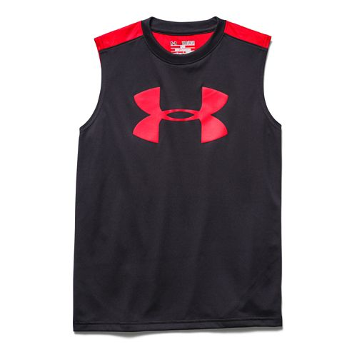 Kids Under Armour Tech Big Logo Novelty T Sleeveless Technical Tops - Yellow Ray/Blue YXS ...