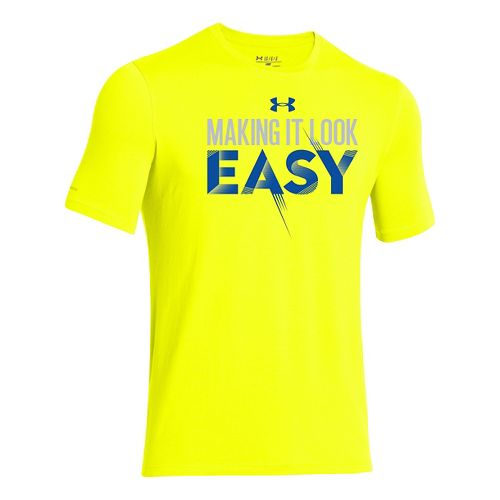 Kids Under Armour Make it Easy T Short Sleeve Technical Tops - Yellow Ray/Aluminum YL ...