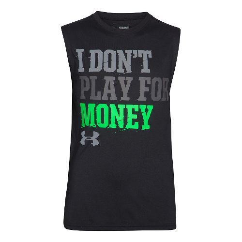 Kids Under Armour Not for Money T Sleeveless Technical Tops - American Blue/Yellow YM