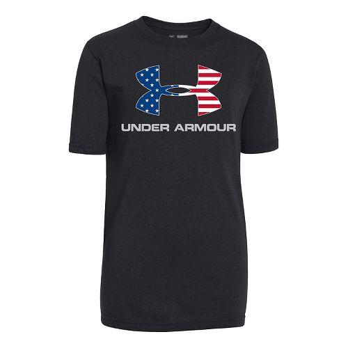 Kids Under Armour Big Logo USA T Short Sleeve Technical Tops - Black/Royal YL