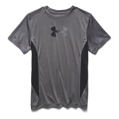 Kids Under Armour Show Me Sweat UPF T Short Sleeve Technical Tops - Graphite/Black YM ...
