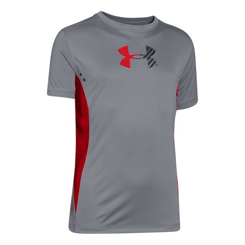 Kids Under Armour Show Me Sweat UPF T Short Sleeve Technical Tops - Steel/Risk Red ...