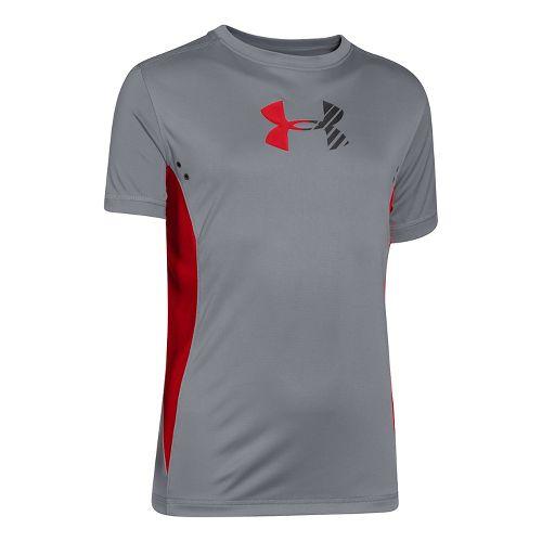 Kids Under Armour Show Me Sweat UPF T Short Sleeve Technical Tops - Graphite/Black YXL ...