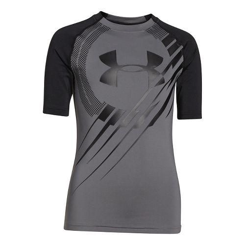 Kids Under Armour Show Me Sweat T Short Sleeve Technical Tops - Graphite/Black YXL