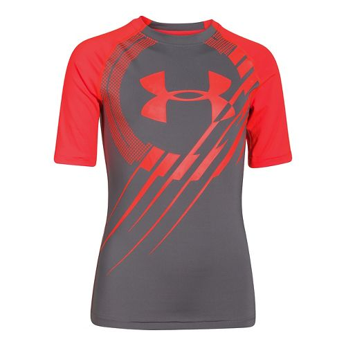 Kids Under Armour Show Me Sweat T Short Sleeve Technical Tops - Risk Red/Black YM ...