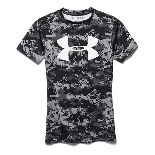 Kids Under Armour Alter Ego PTH Camo Fitted Shirt Short Sleeve Technical Tops - Black ...