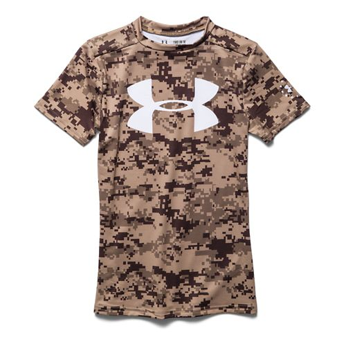 Kids Under Armour Alter Ego PTH Camo Fitted Shirt Short Sleeve Technical Tops - Rough/Black ...