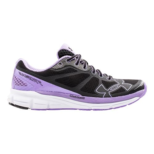Womens Under Armour Charged Bandit Running Shoe - Black/Vivid Lilac 5