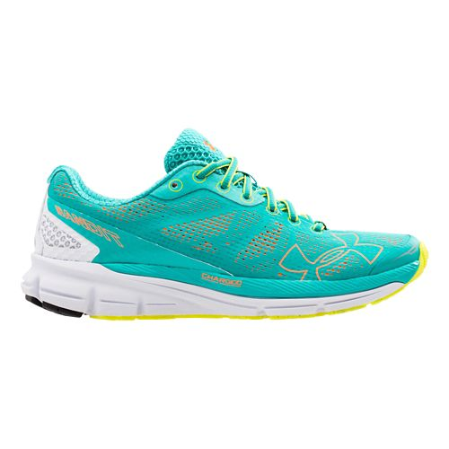 Womens Under Armour Charged Bandit Running Shoe - Turquoise/Orange 7.5
