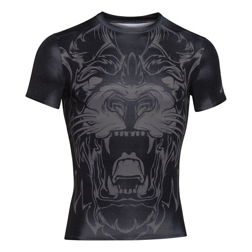 Mens Under Armour 100% Beast Lion Compression Shirt Short Sleeve Technical Tops - Black L ...