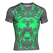 Mens Under Armour 100% Beast Lion Compression Shirt Short Sleeve Technical Tops - Black M