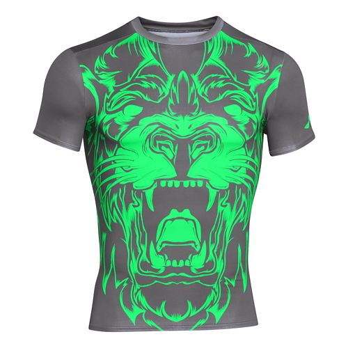 Mens Under Armour 100% Beast Lion Compression Shirt Short Sleeve Technical Tops - Graphite XL