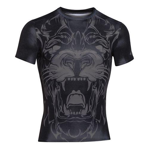 Mens Under Armour 100% Beast Lion Compression Shirt Short Sleeve Technical Tops - Black XL ...