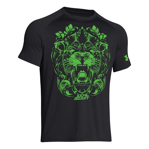 Mens Under Armour 100% Beast Lion T Short Sleeve Technical Tops - Black XXL
